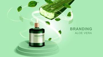 kosmetika eller hudvårdsprodukt. flaskmodell och aloe vera med grön bakgrund. vektor illustration.