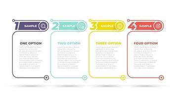 Business Info Grafikdesign Nummer Optionen Vorlage. Zeitleiste mit 4 Schritten, Optionen. kann für Workflow-Diagramm, Info-Diagramm, Webdesign verwendet werden. Vektorillustration. vektor