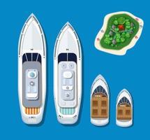 Draufsicht auf eine Inseltour und Schiffe
