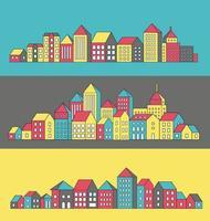 Vektorsatz der linearen städtischen Gebäudelandschaft und der Illustrationen der Häuser