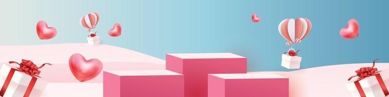 Roter Produkthintergrund des 3d Podiums für valentine.pink und Herzliebesromantik-Konzeptdesignvektorillustrationsdekorationsbanner vektor