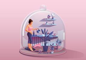 junge Frau zu Hause bleiben. die Pflanzen gießen. umgeben von vielen Pflanzen. Miniaturhaus. Bleib zu Hause und bleib sicher mit sozialer Distanzierung. Quarantänekonzept covid-19 Vektorillustration vektor