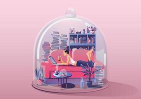 junge Frau. am Laptop arbeiten, ein Buch lesen. zu Hause bleiben, umgeben von Büchern und Pflanzen. Miniaturhaus. Bleib zu Hause und bleib sicher mit sozialer Distanzierung. Quarantäne-Konzeptvektorillustration vektor