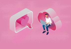 ung man använder en bärbar dator direktmeddelande alla hjärtans dag koncept, med cloud computing, webbplats eller mobilapplikation, meddelandet marknadsföring smartphone, romantisk och söt, rosa ton, vektor design