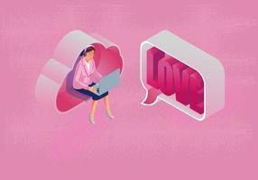 en kvinna använder en bärbar dator direktmeddelande alla hjärtans dag koncept, med cloud computing, webbplats eller mobiltelefon applikation, meddelandet marknadsföring smartphone, romantisk och söt, rosa ton, vektor design
