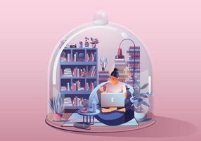 ung kvinna. arbetar på bärbar dator, läser en bok. stanna hemma omgiven av böcker och växter. miniatyrhus. stanna hemma och vara säker med social distansering. karantän koncept vektorillustration