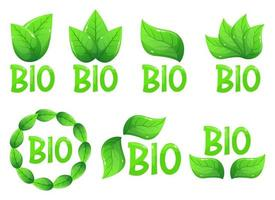 bio emblem logotyp vektor design illustration isolerad på vit bakgrund