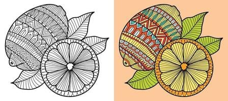Gekritzel Zitronen Henna Stil Design Malbuch Seite für Erwachsene und Kinder. entspannende orientalische Anti-Stress-Therapiemuster. abstraktes Zen-Gewirr. Vektorillustration. vektor