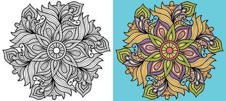 Doodle Mandala Malbuch Seite für Erwachsene und Kinder. orientalische Anti-Stress-Therapiemuster. abstraktes Zen-Gewirr. Vektorillustration. vektor