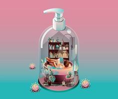 Quarantänekonzept zu Hause bleiben. Coronavirus, Frau, die Buch in einem badenden Becken liest, drinnen. in einem Haus verwandeln, um Alkoholflasche auf rosa Hintergrund mit vielen Viren umgeben zu gelieren. Vektor
