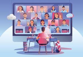 Videokonferenzlandung. Menschen auf dem Computerbildschirm nehmen mit Kollegen. Videokonferenzen und Online-Meeting-Arbeitsbereich Vektorseite Mann und Frau. Selbstquarantäne, um einen covid -19-Vektor zu verhindern vektor