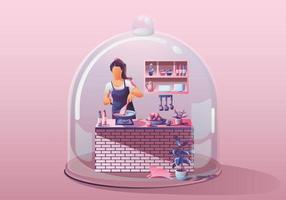 junge Frau zu Hause bleiben. Essen zubereiten und kochen, umgeben von vielen Küchenutensilien. Miniaturhaus. Bleib zu Hause und bleib sicher mit sozialer Distanzierung. Quarantäne-Konzept-Covid-19-Vektor vektor