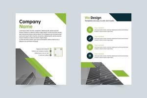 saubere grüne, graue Vorlage für den jährlichen Flyer des Unternehmens vektor