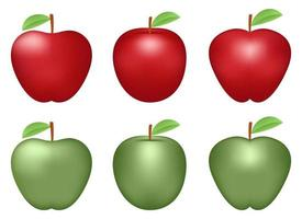 frische Apfel-Set-Vektor-Design-Illustration lokalisiert auf weißem Hintergrund vektor