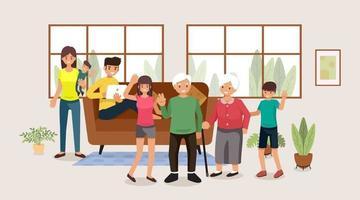 Familie, Leute, Mutter und Vater mit Babys, Kindern und Großeltern, Vektorillustration flaches Design
