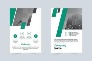 enkel grön, grå företagsbroschyrmall vektor