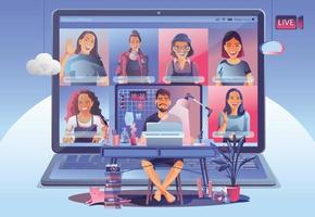 landning av videokonferens. människor på datorskärmen tar med kollegor. videokonferens och online-mötesarbetsplatsvektorsida man och kvinna. självkarantän för att förhindra covid -19-vektor vektor