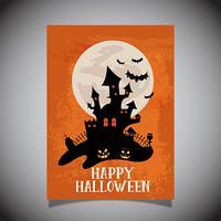 Halloween-Flieger mit gespenstischem Schlossdesign vektor