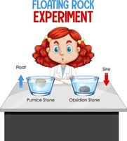ein junger Wissenschaftler mit Floating Rock Experiment vektor