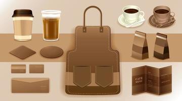 Corporate Identity Branding-Modell, Kaffee, Café, Lebensmittellieferung, realistisches Modell, Uniform, Tasse, Papierpackung, Menü, Vektorillustration vektor