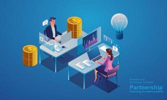 Datenanalyse- und Statistikkonzept. Business Analytics, Datenvisualisierung. Technologie, isometrische Investoren und kreative Anbieter diskutieren über die Bereitstellung einer flachen Vektorillustration für Kunden vektor