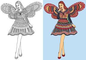 Doodle Girl Fairy Malbuch Seite für Erwachsene und Kinder. orientalische Anti-Stress-Therapiemuster. abstraktes Zen-Gewirr. Vektorillustration. vektor