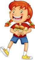 en tjej som håller mat seriefiguren isolerad på vit bakgrund