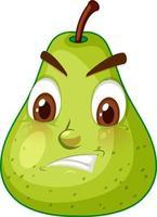 grüne Birnenkarikaturfigur mit wütendem Gesichtsausdruck auf weißem Hintergrund