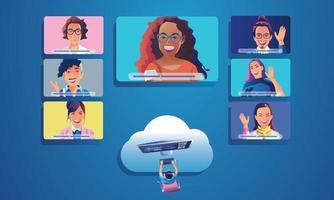 Geschäftsleute nutzen Videokonferenzlandungen, um Menschen von oben auf dem Fensterbildschirm zu sehen, die mit Kollegen zusammenarbeiten. Remote Working Videokonferenzen und Online-Meeting Arbeitsbereich Seite Mann Frau Lernvektor vektor