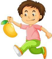 glückliche junge Zeichentrickfigur, die eine Mango hält