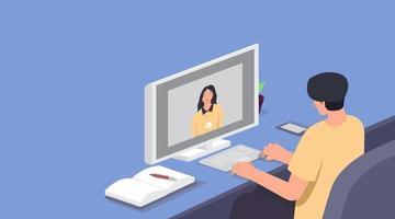 videokonferens, människor på datorskärmen tar med kollegan, mötesarbetsplats online, platt tecknad filmuppsättning, vektorillustration
