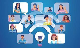 Menschen nutzen Videokonferenzen, um arbeitende Menschen auf dem Fensterbildschirm zu landen und mit Kollegen zu sprechen. Videokonferenzen und Online-Treffen WiFi-Symbol, Mann und Frau Online-Lernen Vektor-Illustration, flach vektor