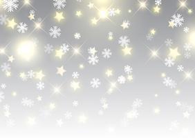 Weihnachtshintergrund von Sternen und von Schneeflocken vektor
