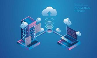 Computertechnologie Serverraum digitales Gerät isometrisches Konzept Cloud-Speicher Kommunikation mit dem Netzwerk Online-Geräte lädt Download-Informationsdaten in eine Datenbank auf Cloud-Services-Vektor hoch vektor