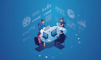 begreppet dataanalys för webbplats och mobilwebbplats. dataanalys för företags marknadsföringslösningar eller ekonomiska resultat. budget redovisning eller statistik koncept. platt design illustration vektor