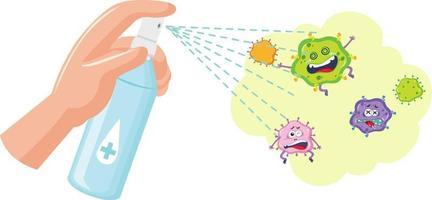 Hand mit Alkohol Desinfektionsmittel mit Virus Zeichentrickfigur vektor