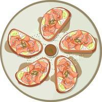 viele Brote mit geräuchertem Lachs oben drauf vektor