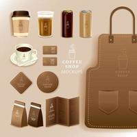 företagsidentitet branding mockup, kaffe, café, matleverans, realistisk mockup, uniform, kopp, pappersförpackning, meny, vektorillustration