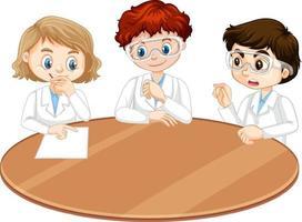 tre unga forskare som pratar varandra vektor