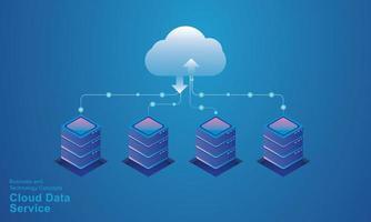 datorteknik serverrum digital enhet isometrisk koncept molnlagring kommunikation med nätverket onlineenheter uppladdningar ladda ner informationsdata i en databas på molntjänster vektor