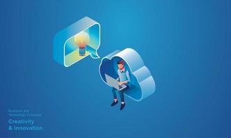 Geschäftsleute, die in den Bereichen Cloud-Technologie, Kreativität und Innovationsoptimierung sowie Entwicklung von Geschäftsprozess-Workflows mit dem isometrischen Konzeptvektor-Design des Online-Netzwerkgeräts sitzen vektor