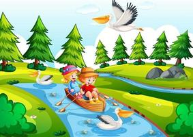 två barn rodrar båten i floden park scen vektor