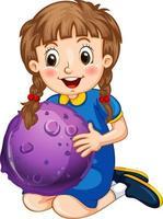 glückliche Mädchenkarikaturfigur, die ein Planetenmodell hält