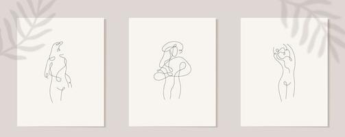 lineare Frauenfigur einstellen. kontinuierliche lineare Silhouette des weiblichen Gesichts. Umriss Hand gezeichnet von Avataren Mädchen. lineares Glamour-Logo im Minimal-Stil für Schönheitssalon, Maskenbildner, Stylist vektor