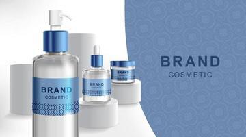 reklam för grädde och spray. kosmetiskt rör och realistisk flaska vid scenpiedestal. varumärkes- och förpackningsmall. vektor illustration