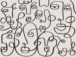 eine Linie, die abstraktes Gesicht abstraktes Muster zeichnet. moderne Minimalismuskunst, ästhetische Kontur. durchgehender Linienhintergrund mit Frauen- und Manngesichtern. Wandplakat Dekor vektor