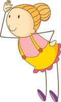 niedliches Mädchen Zeichentrickfigur in der Hand gezeichnet Gekritzel-Stil isoliert