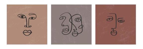 abstrakt en rad kontinuerlig ritning ansikten. minimalism konst, estetisk kontur. kontinuerlig linje par stamporträtt. modern vektorillustration i etnisk stil med naken bakgrund vektor