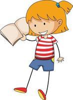 kleines Mädchen, das Buch-Gekritzel-Zeichentrickfigur liest