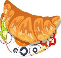 Draufsicht auf Croissant mit Ei und Gemüse im Inneren